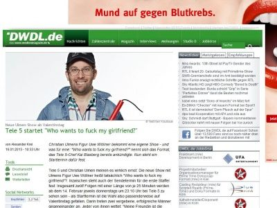 Bild zum Artikel: Tele 5 startet 'Who wants to fuck my girlfriend?'