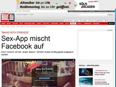 Bild zum Artikel: Bang with friends - Sex-App mischt Facebook auf