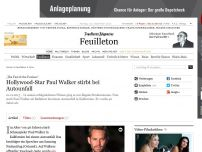 Bild zum Artikel: Hollywood-Star Paul Walker (40) stirbt bei Autounfall