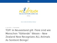 "Bild zum Artikel: TOP! In Neuseeland gilt -Tiere sind wie Menschen ""fühlende"" Wesen – New Zealand Now Recognizes ALL Animals As Sentient Beings!"